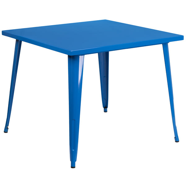 Restaurant Grade 35.5'' Square Blue Metal Indoor-Outdoor Table