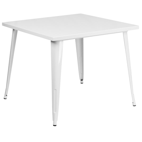 Restaurant Grade 35.5'' Square White Metal Indoor-Outdoor Table