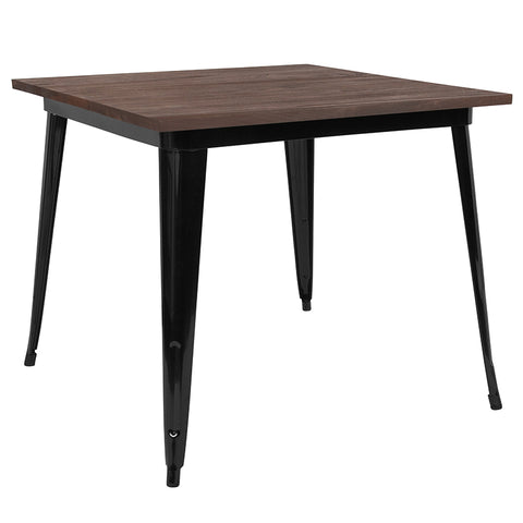 "Restaurant Grade 36"" Square Black Metal Indoor Table with Walnut Rustic Wood Top"
