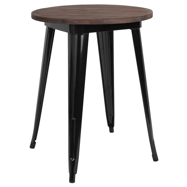 "Restaurant Grade 24"" Round Black Metal Indoor Table with Walnut Rustic Wood Top"