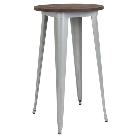 "Restaurant Grade 24"" Round Silver Metal Indoor Bar Height Table with Walnut Rustic Wood Top"