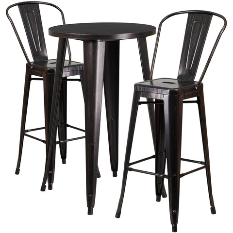 Restaurant Grade 24'' Round Black-Antique Gold Metal Indoor-Outdoor Bar Table Set with 2 Cafe Stools