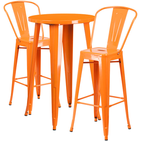 Restaurant Grade 24'' Round Orange Metal Indoor-Outdoor Bar Table Set with 2 Cafe Stools