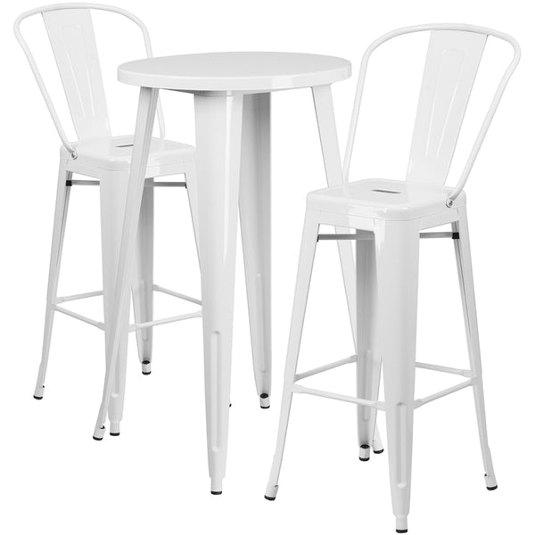 Restaurant Grade 24'' Round White Metal Indoor-Outdoor Bar Table Set with 2 Cafe Stools
