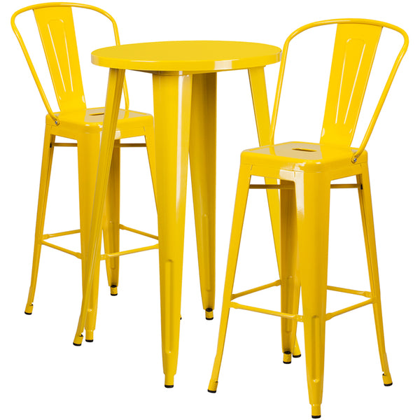 Restaurant Grade 24'' Round Yellow Metal Indoor-Outdoor Bar Table Set with 2 Cafe Stools