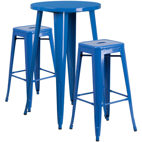 Restaurant Grade 24'' Round Blue Metal Indoor-Outdoor Bar Table Set with 2 Square Seat Backless Stools