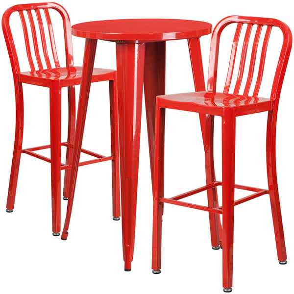 Restaurant Grade 24'' Round Red Metal Indoor-Outdoor Bar Table Set with 2 Vertical Slat Back Stools