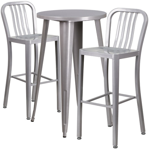 Restaurant Grade 24'' Round Silver Metal Indoor-Outdoor Bar Table Set with 2 Vertical Slat Back Stools