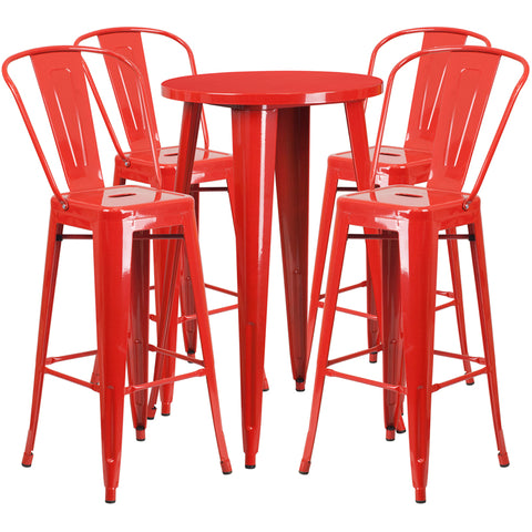 Restaurant Grade 24'' Round Red Metal Indoor-Outdoor Bar Table Set with 4 Cafe Stools