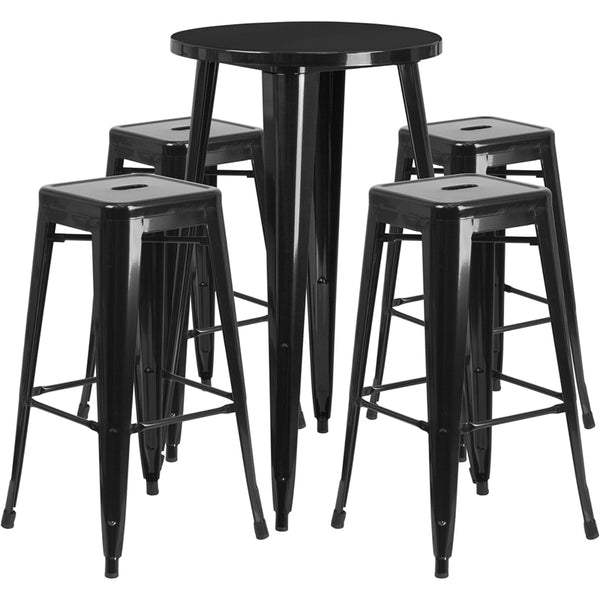 Restaurant Grade 24'' Round Black Metal Indoor-Outdoor Bar Table Set with 4 Square Seat Backless Stools