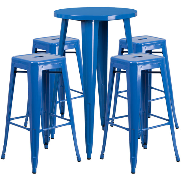 Restaurant Grade 24'' Round Blue Metal Indoor-Outdoor Bar Table Set with 4 Square Seat Backless Stools