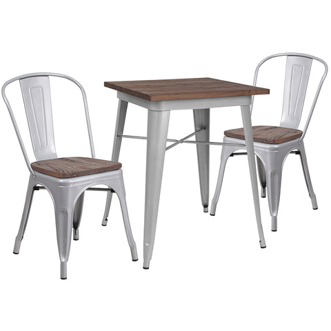 "Restaurant Grade 23.5"" Square Silver Metal Table Set with Wood Top and 2 Stack Chairs"