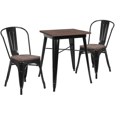 "Restaurant Grade 23.5"" Square Black Metal Table Set with Wood Top and 2 Stack Chairs"