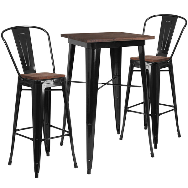 "Restaurant Grade 23.5"" Square Black Metal Bar Table Set with Wood Top and 2 Stools"