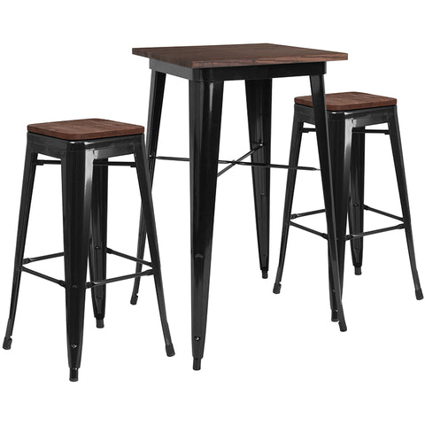 "Restaurant Grade 23.5"" Square Black Metal Bar Table Set with Wood Top and 2 Backless Stools"