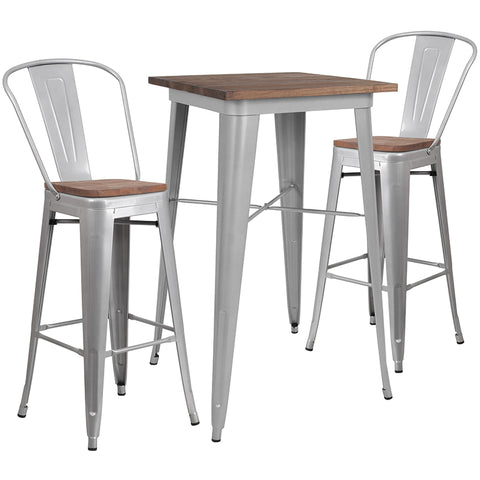 "Restaurant Grade 23.5"" Square Silver Metal Bar Table Set with Wood Top and 2 Stools"
