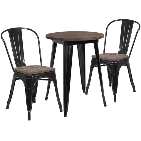 "Restaurant Grade 24"" Round Black Metal Table Set with Wood Top and 2 Stack Chairs"