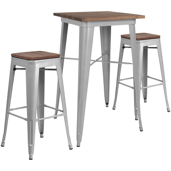 "Restaurant Grade 23.5"" Square Silver Metal Bar Table Set with Wood Top and 2 Backless Stools"