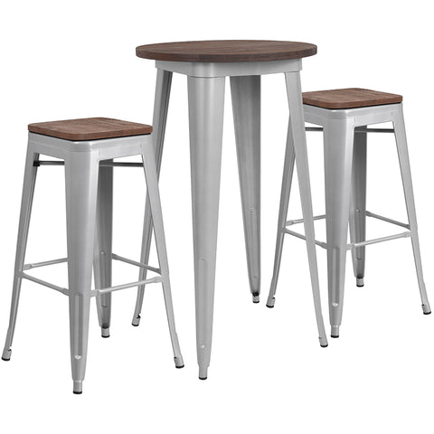 "Restaurant Grade 24"" Round Silver Metal Bar Table Set with Wood Top and 2 Backless Stools"