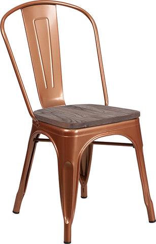 Restaurant Grade Copper Metal Stackable Chair with Wood Seat