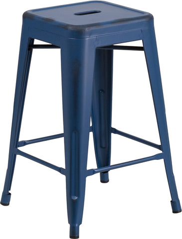 Restaurant Grade 24'' High Backless Distressed Antique Blue Metal Indoor-Outdoor Counter Height Stool