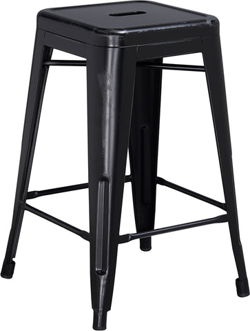 Restaurant Grade 24'' High Backless Distressed Black Metal Indoor-Outdoor Counter Height Stool