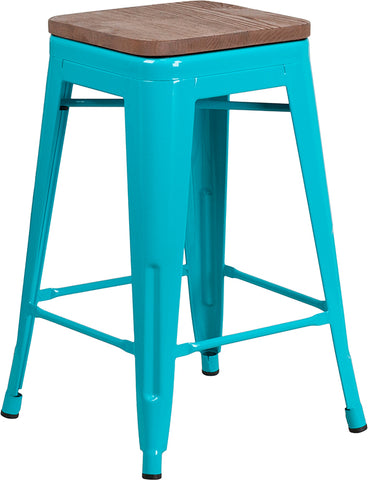 "Restaurant Grade 24"" High Backless Crystal Teal-Blue Counter Height Stool with Square Wood Seat"