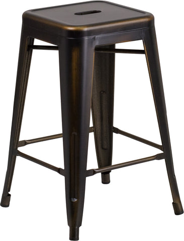 Restaurant Grade 24'' High Backless Distressed Copper Metal Indoor-Outdoor Counter Height Stool