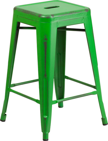 Restaurant Grade 24'' High Backless Distressed Green Metal Indoor-Outdoor Counter Height Stool