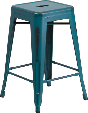 Restaurant Grade 24'' High Backless Distressed Kelly Blue-Teal Metal Indoor-Outdoor Counter Height Stool