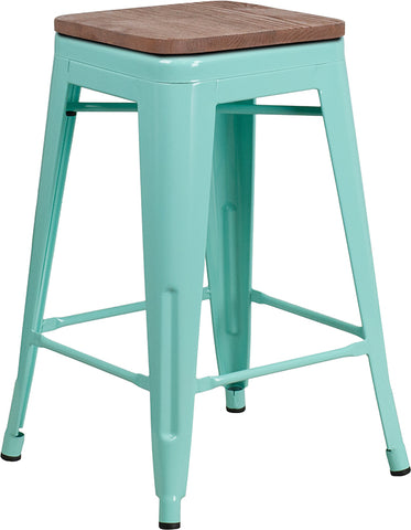 "Restaurant Grade 24"" High Backless Mint Green Counter Height Stool with Square Wood Seat"