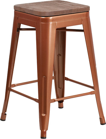 "Restaurant Grade 24"" High Backless Copper Counter Height Stool with Square Wood Seat"