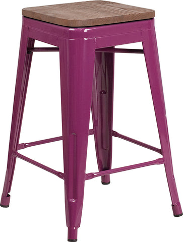 "Restaurant Grade 24"" High Backless Purple Counter Height Stool with Square Wood Seat"