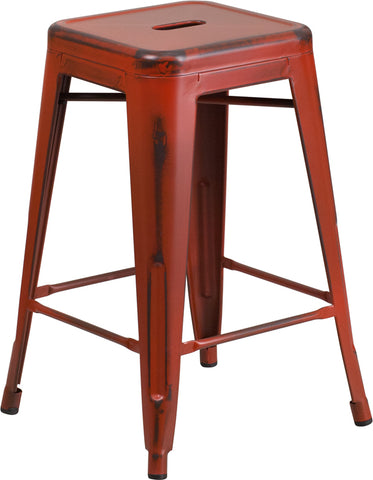 Restaurant Grade 24'' High Backless Distressed Kelly Red Metal Indoor-Outdoor Counter Height Stool