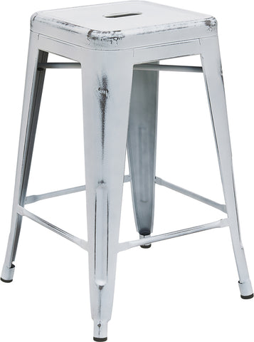 Restaurant Grade 24'' High Backless Distressed White Metal Indoor-Outdoor Counter Height Stool