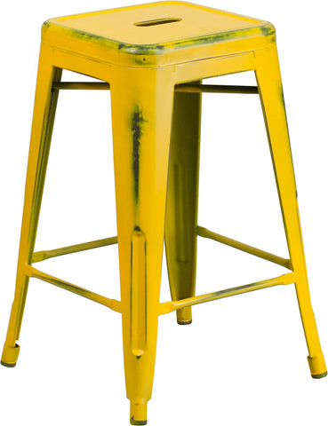 Restaurant Grade 24'' High Backless Distressed Yellow Metal Indoor-Outdoor Counter Height Stool