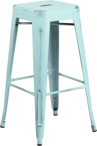 Restaurant Grade 30'' High Backless Distressed Green-Blue Metal Indoor-Outdoor Barstool