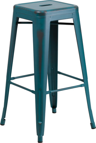 Restaurant Grade 30'' High Backless Distressed Kelly Blue-Teal Metal Indoor-Outdoor Barstool