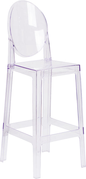 Restaurant Grade Ghost Barstool with Oval Back in Transparent Crystal