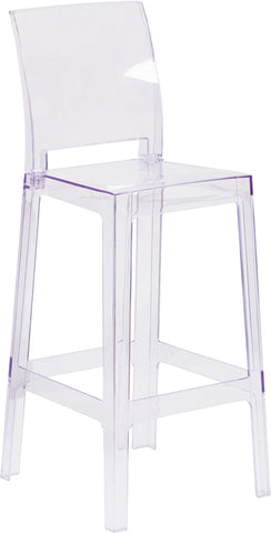 Restaurant Grade Ghost Barstool with Square Back in Transparent Crystal