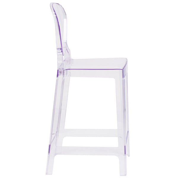 Restaurant Grade Ghost Counter Stool with Tear Back in Transparent Crystal