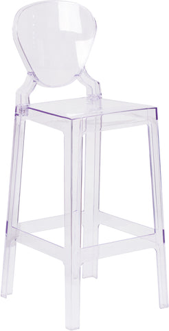 Restaurant Grade Ghost Barstool with Tear Back in Transparent Crystal