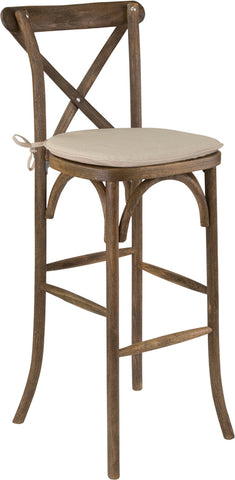 Restaurant Grade Dark Antique Wood Cross Back Barstool with Cushion