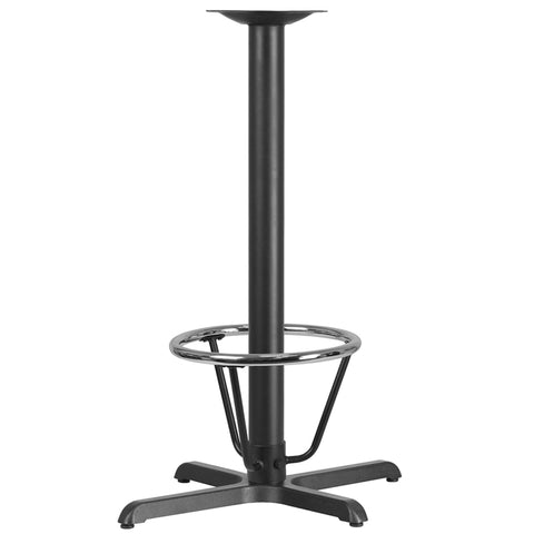 Restaurant Grade 22'' x 30'' Restaurant Table X-Base with 3'' Dia. Bar Height Column and Foot Ring