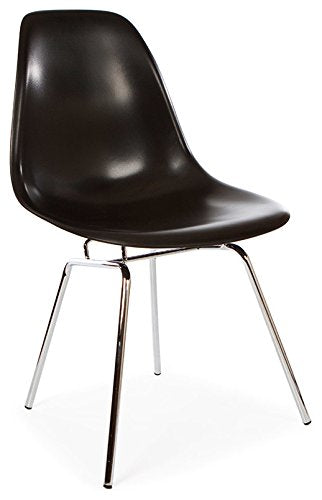 ModHaus Mid Century Modern Black DSX Chair with with 4 Legged H Chrome Steel Base - Inspired by Eames Design - HIGH QUALITY Satin Finish