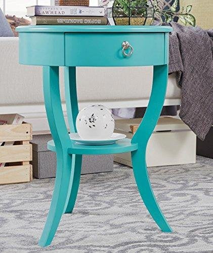 ModHaus Teal Green Accent Table with Drawer | Modern Round Shaped | Wood Finish
