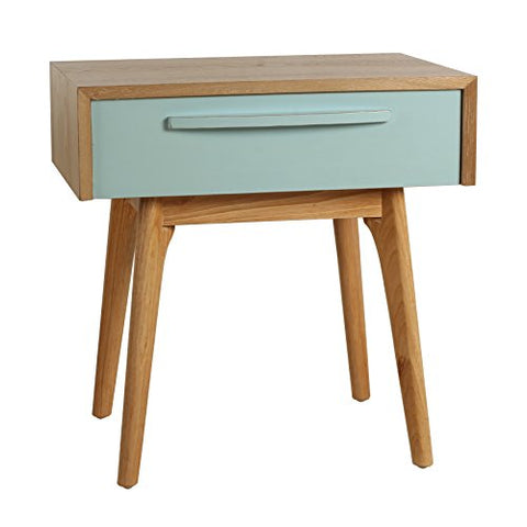 Mid Century Wood Accent Side End Table with Drawer and Beveled Edges (Light Blue)