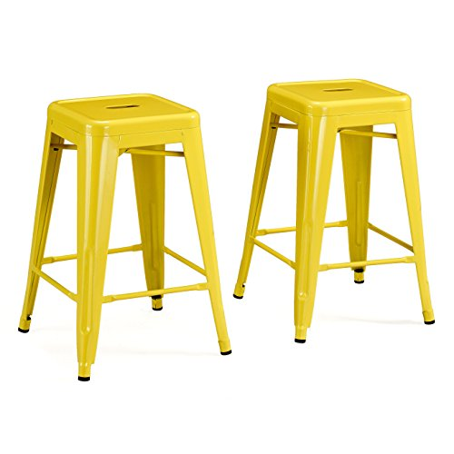 Set of 2 Yellow Tolix Style Metal Counter Stools in Glossy Powder Coated Finish