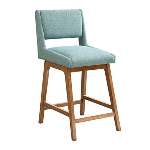Remarkable Mid Century Modern Retro Solid Wood Counter Height Stool With Blue Upholstery Textured Fabric Cjindustries Chair Design For Home Cjindustriesco