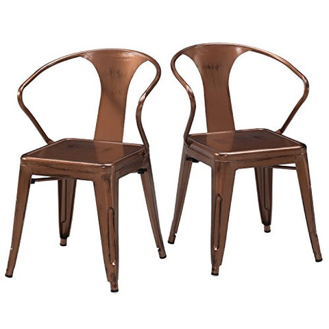 Set of 4 Copper French Bistro Metal Chairs in Glossy Powder Coated Finish Metal Stackable Dining